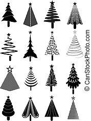 セット, 木, クリスマス, アイコン