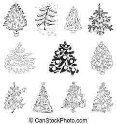 セット, -, 木, ベクトル, デザイン, スクラップブック, クリスマス