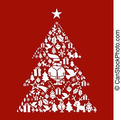 セット, 木, 松, 形, クリスマス, アイコン