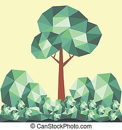 セット, 木, poly, ベクトル, 緑, 低い, 幾何学的