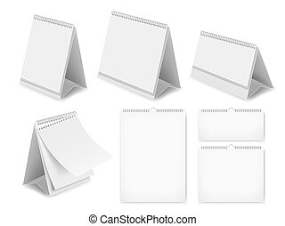 セット, 机, イラスト, ペーパー, 現実的, ベクトル, ブランク, カレンダー