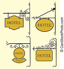 セット, 板, 印, ホテル