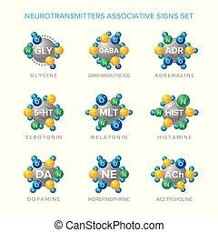 セット, 構造, ベクトル, サイン, 分子, neurotransmitters, associative