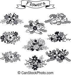 セット, 様々, レトロ, 花束, 花, 花, style.