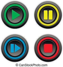 セット, 止まれ, ボタン, 休止, 前方へ, プレーしなさい