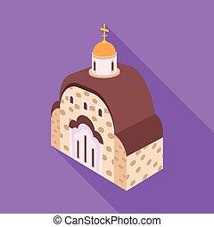 セット, 正統, シンボル, オブジェクト, web., 隔離された, 教会, チャペル, logo., 株