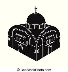 セット, 正統, シンボル, web., イラスト, ベクトル, 教会, icon., チャペル, 株