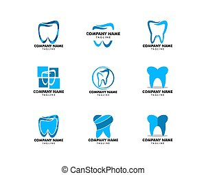 セット, 歯医者の, イラスト, ベクトル, デザイン, テンプレート, ロゴ, アイコン