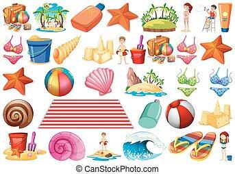 セット, 殻, 波, オブジェクト, ビキニ, ヒトデ, 主題, 砂ビーチ, 城