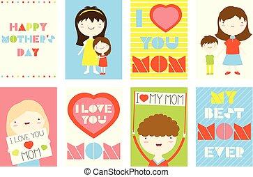 セット, 母, グリーティングカード, 日, 幸せ