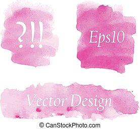 セット, 水彩画, ピンク