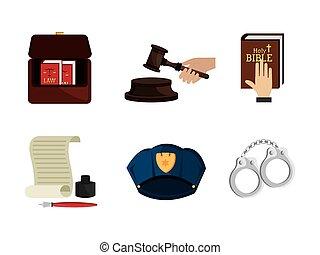 セット, 法律, 正義, アイコン, 法的