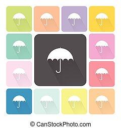 セット, 洋傘の色, イラスト, ベクトル, アイコン