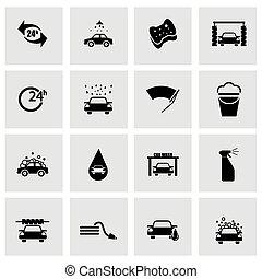 セット, 洗車場, ベクトル, 黒, アイコン
