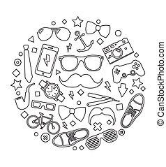 セット, 流行, 人, イラスト, accessories., ベクトル, テンプレート, 背景