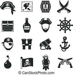 セット, 海賊, 黒, アイコン