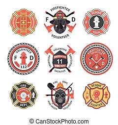 セット, 消防士, ラベル