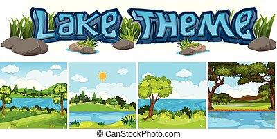 セット, 湖, 背景