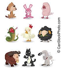 セット, 漫画, 動物アイコン