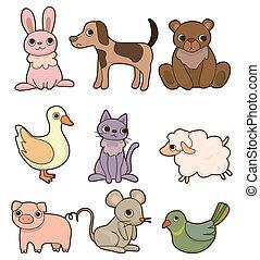 セット, 漫画, 動物, アイコン
