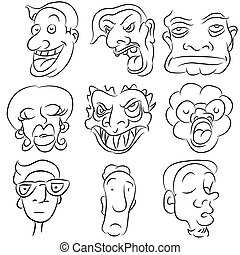 セット, 漫画, 顔