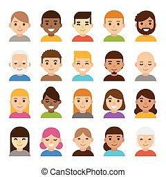 セット, 漫画, avatars
