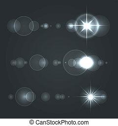 セット, 火炎信号, レンズ, バックグラウンド。, ベクトル, 太陽, 透明