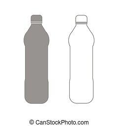 セット, 灰色, プラスチック, 水のビン, アイコン