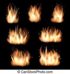 セット, 炎, 火, ベクトル, 黒い背景