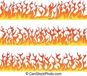 セット, 炎, 火, seamless, ベクトル, 線