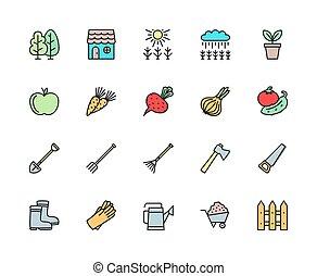 セット, 熊手, フェンス, icons., おの, 線, 農業フィールド, もっと, 色, 干し草用フォーク