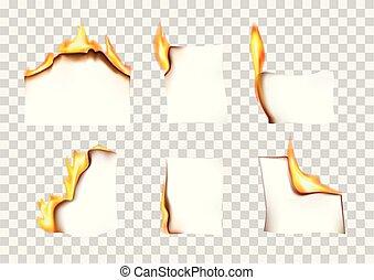 セット, 燃焼, 火, イラスト, 小片, ペーパー, ベクトル, 背景, 透明
