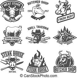 セット, 牛肉, 家, 肉, 要素, デザイン, emblems., ステーキ, ロゴ