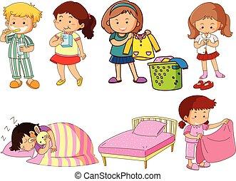 セット, 特徴, 漫画, 子供