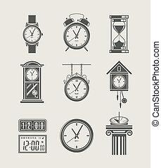 セット, 現代, レトロ, アイコン, 時計