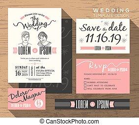 セット, 現代, 招待, デザイン, テンプレート, 結婚式