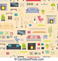 セット, 現代, 要素, デザイン, 内部, 流行