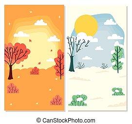 セット, 現場, weathers, 季節, コレクション