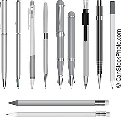 セット, 現実的, ペン, スタイル, mockup