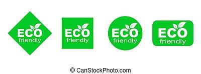 セット, 環境, 緑, eco, 味方, stickers.
