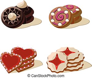 セット, 甘い, icons., ベクトル, cookies., 漫画