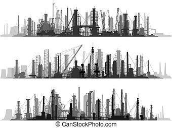セット, 産業, city., 線, 部分