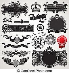 セット, 皇族, ベクトル, 華やか, フレーム, 要素