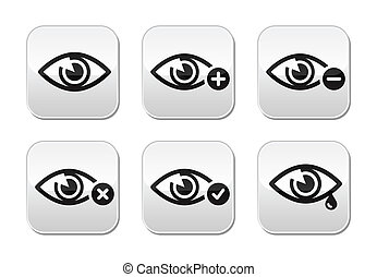セット, 目, -, ボタン, ベクトル, 光景
