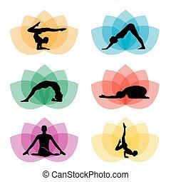 セット, 瞑想, シンボル, ヨガ