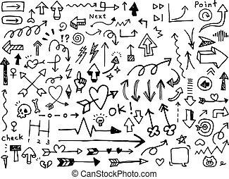 セット, 矢, 隔離された, hand-drawn, 背景, 白