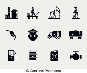 セット, 石油, オイル, アイコン