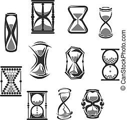 セット, 砂時計, 時計, 腕時計, sandglass, 砂, ∥あるいは∥, アイコン