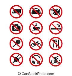 セット, 禁止, バックグラウンド。, 安全, サイン, 白