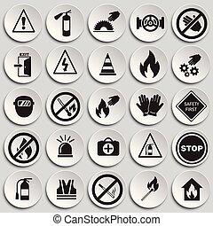 セット, 禁止, 安全, 背景, サイン, プレート